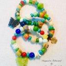 Set of 3 African Trade Bead Bracelets w/ Multi Gemstones $64.