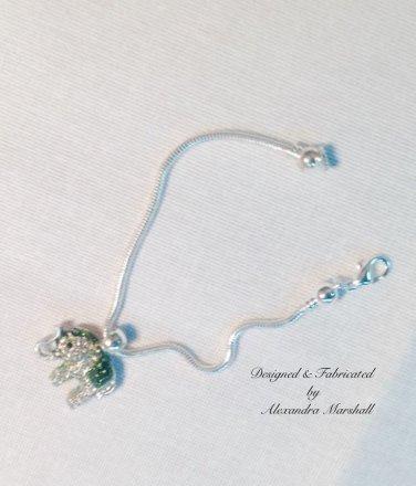 Emerald Green and Clear Swarovski Crystal Elephant Bracelet $25