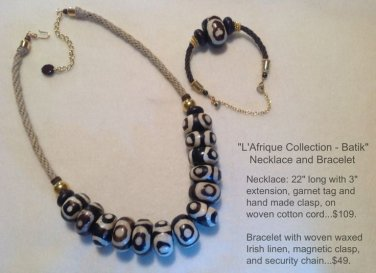 Natural Woven Irish Linen and Giant African Hand Painteed Bone Necklace & Bracelet Set $$139