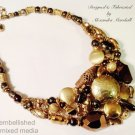 Mixed Media Golden Hued Bead Brass Hill Tribes Vermeil Gold Overlay Necklace $237