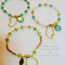 Set of 3 Aqua Blue & Periodt Green Artisan Czech Glass Rosary Wired Bracelets $99