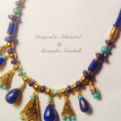 Woven Silk Cord Lapis, Turquoise & Gold Washed Brass Necklace $219