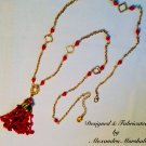 Beaded Red Coral tassel 18K Gold Overlay Necklace $159