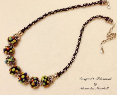 Black and Bright Multicolored Lamp Work Glass Boules Necklace $109