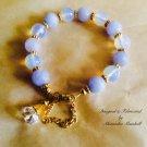 Blue Chalcedony Moonstone Crystal Charm Bracelet $49