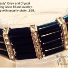 Black Onyx & Clear Crystal Cuff Bracelet $89