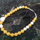 """Jaune"" Asymmetric Necklace white mountin Jae and Yellow Calcite $39"