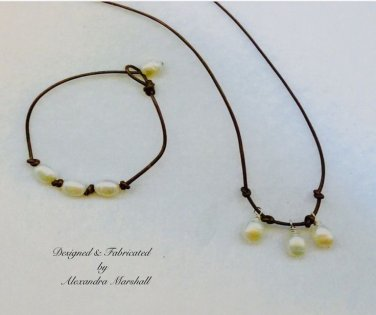 Child First Boho Pearl and Brown Leather Necklace & Bracelet Set $49