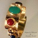 wide Cuff Bracelet with Gold Leaf, Turquoise, Coral, Lapis & Jaspar $109