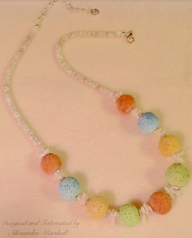 Peach, Blue, Mint, Yellow & White Coral Necklace $109.