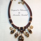 Brown Textile Necklace Tiger Cowrie Shells and Gold Wrapped Wire Components $119