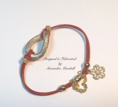 """7"""" Orange and Gold Knot Leather Bracelet with magnetic Clasp $29"""
