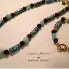 Vibrant Blue Green Amazonite, Brown Lava Rock Matrixed Magnesite Necklace & Bracelet Set $132