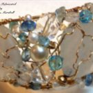 Baby Blue 14K Gold Filled Freeform Wie Crochet Cuff Bracelet $374
