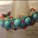 Chunky Turquoise and Coral Cuff Bracelet $129