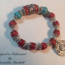 """Tibetan Antique Coral Silver 6.5"""" Stretch Bracelt with Turquoise $59"""