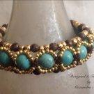 Turquoise, Brown Jaspar and Gold Beaded Bracelet $79