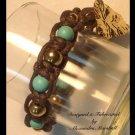 Turquoise, Brass & Brown Cord Macrame Bracelet $29