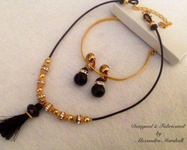 Black Onyx Swarovski Crystal Tassel Necklace and Earring Set $89
