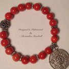 Coral and Tibetan Silver Bracelet $29