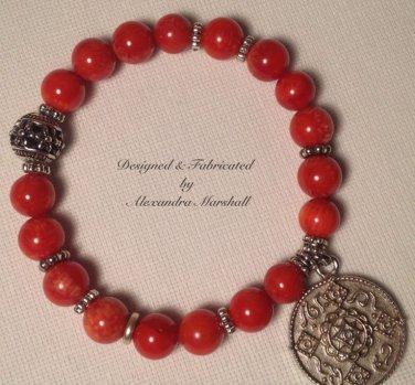 Coral and Tibetan Silver Bracelet $29