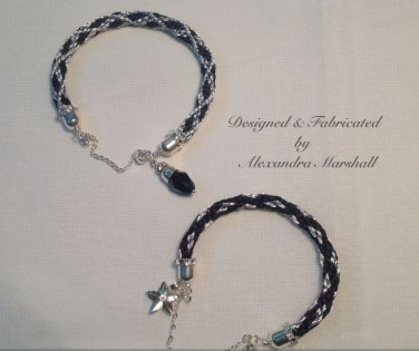 Pair of Kumihimo Braided Black Satin and silver Cord Bracelets Swarovski Crystals 449