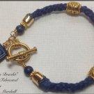 Denim Blue Kumihimo Woven Cotton Cord Bracelet Lapis embellishments $29