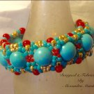 Hand Woven Chunky Turquoise & Coral Cuff Bracelet $89.