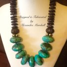 Chunky Genuine Turquoise & Chocolate Statement Necklace$569.