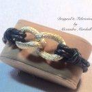 "7.5"" Braided Black Leather Gold Infiity Knot Bracelet $49"