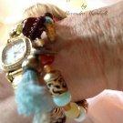 Boho Chic Stacking Silk Tassel Taggeed Blue Opal, Agate, Carnelian, Horn, Brass Bracelet $59