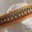 Gold Mesh Cuff Bracelet with Hand Stitch Turquoise, Pearl and Coral Beads $79
