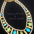 Artisan Necklace Turquoise, Lime Green, Cloisonne, Bone 18Kt Gold Overlay $109