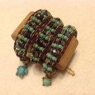Purple & Turquoise Single Width Czech Glass Chan Lu Style Bracelet $59