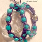 set of 2 Turquoise color Magnesite and Purple Leather Macrame Bracelets $49.
