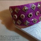 Antique Silver Swarovski Crystal Studded Faux Snakeskin Cuff Bracelet $59