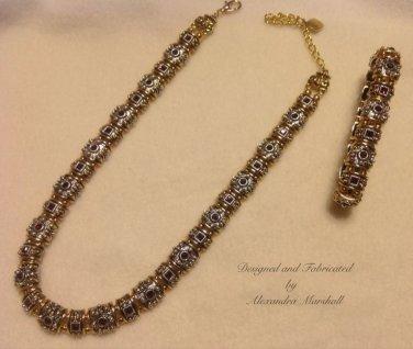 """Ruby Ruby"" Swarovski Siam Crystal Chatons Set Necklace & Bracelet Set $232"