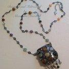 Antique Silver Cache Pendant set with Gemstones Necklace $159