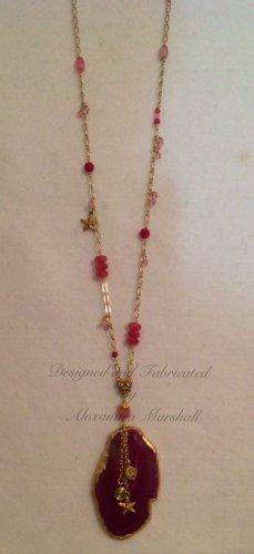 """Rose Garden"" 35"" long Geode Pendant embellished with Pnk Jade, Glass Necklace $149"