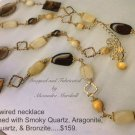 Long Hand Wrapped 14K Gold Overlay Semi Precious Gemstone Necklace $159