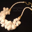 White Linen and Shell Necklace $89.