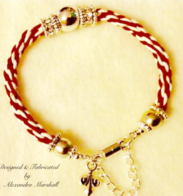 Red & White Leather Stacking Rope Bracelet w/Crystal & Fleur de LysDangle $49.