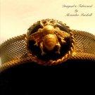 Black Bee Motif Florentine Gold Color Mrsh Bangle Bracelet $69.