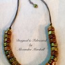 Contemporary Tribal Brass, Bronze, & Copper Patina Necklace
