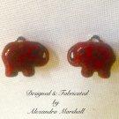 Crimson Tide Red Elephant Earrings