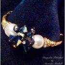 Elegant 14K Gold Fill & Leaf, Blue Swarovski Crystal, & Pearl Bracelet