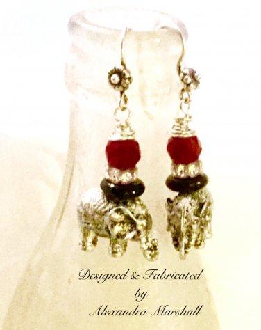 Crimson Tide Pewter & Swarovski Crystal Elephant Earrings