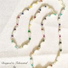 Long White Agate w/ Jewel Toned Gems & Glass Necklace