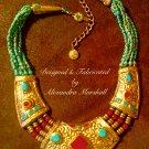Tibetan Necklace with Genuine Gemstones & Hand Cast Clay