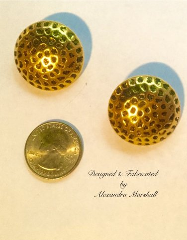 Big  Dimpled Gold Tone Button Stlye Earrings w/ Cllips or Posts